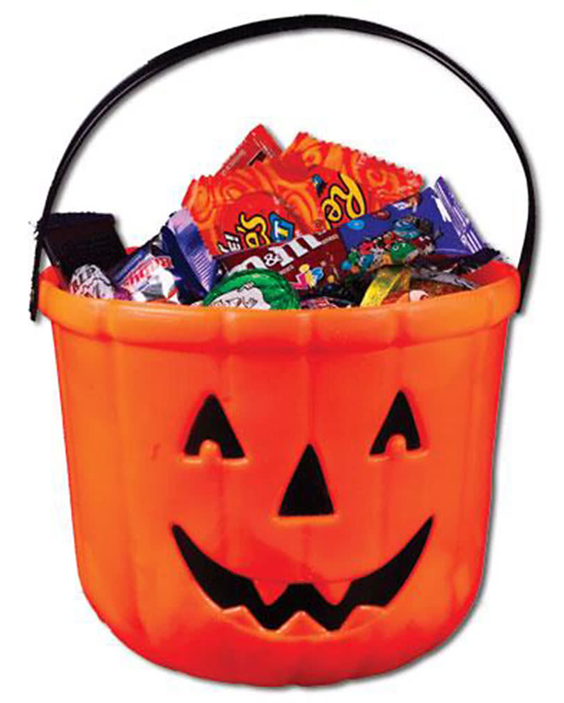 pumpkin bucket as Trick or Treat candy container | horror-shop.com