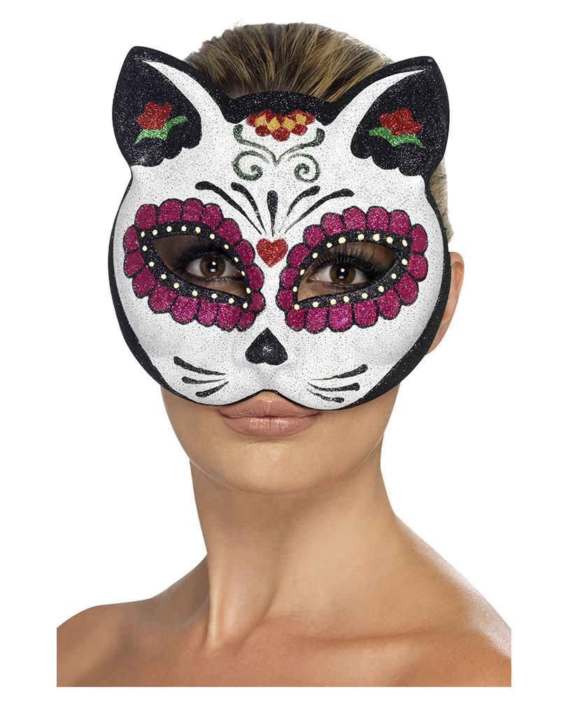 Sugar Skull Cat Mask | Dia de los Muertos | horror-shop.com