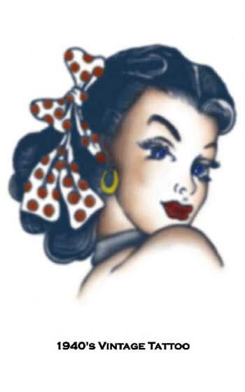 Piraten Pin Up Girl Kopf Tattoo
