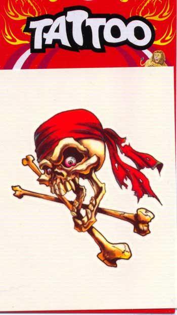Pirate Tattoo Red Bandana