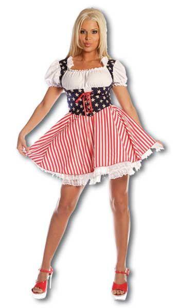 Cheerleader Stars and Stripes Costume. L