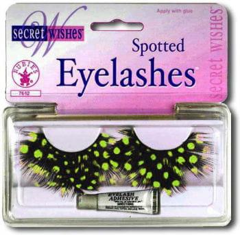 polka dots feather eyelashes green