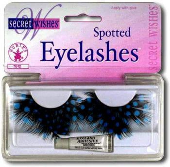 polka dots feather eyelashes Blue