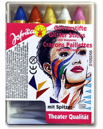 Glitter make-up sticks 5 colors with Spitzer
