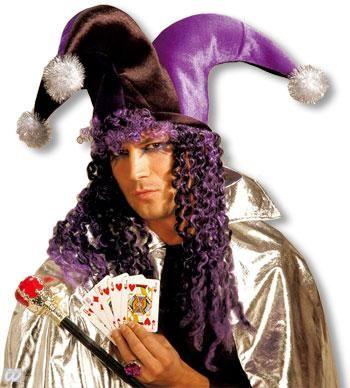 Joker Bommelmütze mit Haaren violett