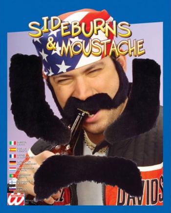 Biker Sideburns and Moustache Black