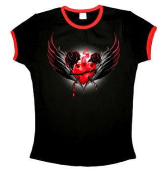 Sacred Heart T-Shirt mit roten Bündchen Gr. L