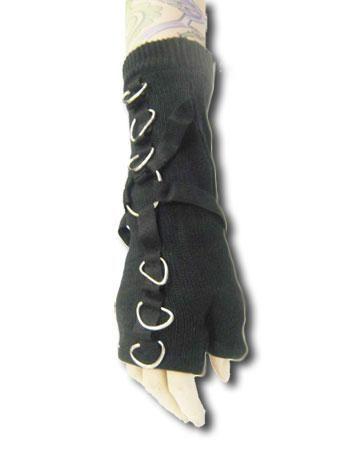 Gothic Handschuhe Schwarz mit D und O Ring Verzierung