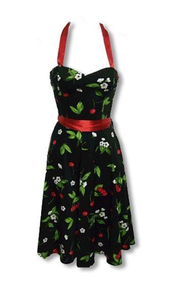 schwarzes Sommerkleid mit Kirschdruck XS