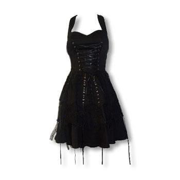 schwarzes Gothic Spitzenkleid S