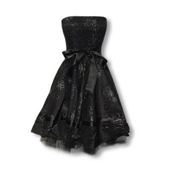 Black Evening Gown with Flower Print M