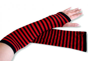 Arm warmers striped red and black
