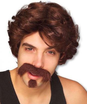 Brown 80s Wig With Beard