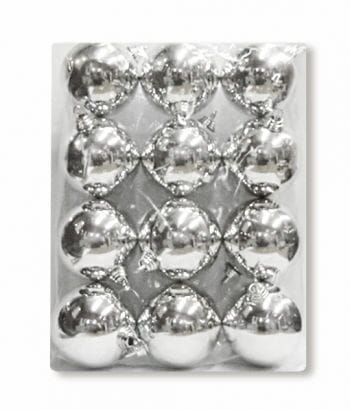 Christmas baubles silver 12 pieces