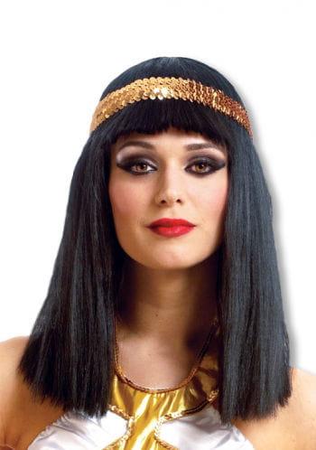 Cleopatra Perücke mit Pailletten-Stirnband