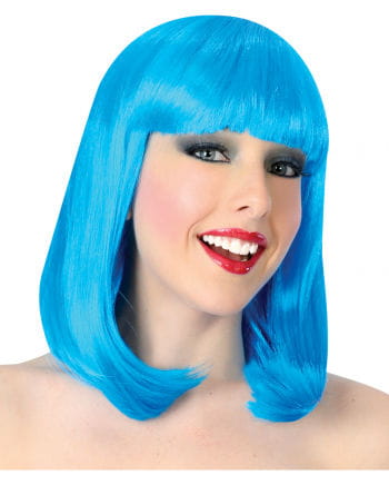 Revue Girl Perücke mit Pony blau