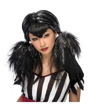 Dark Angel Perücke schwarz / silber