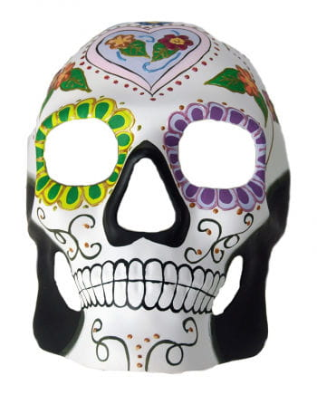 Day of the Dead Skull Mask Flower Heart