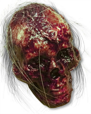Rotting Skull with Hair Latex Small