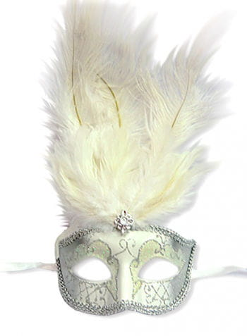 Feather mask venetian white / silver