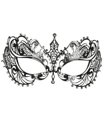 Intricate metal eye mask with rhinestone silver