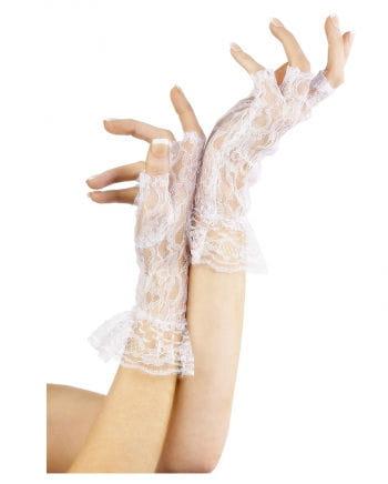 Fingerlose kurze Spitzen-Handschuhe Weiß