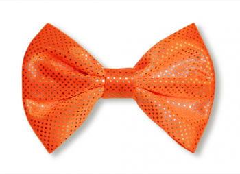 Fliege Deluxe orange mit silber