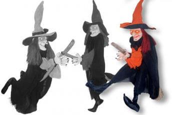 Fliegende Hexe mit Besen orange