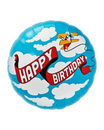 Foil balloon Happy Birthday Airplane