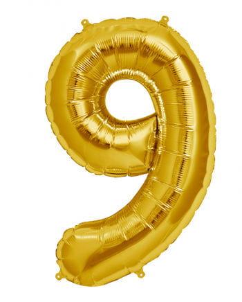 Folienballon Zahl 9 Gold