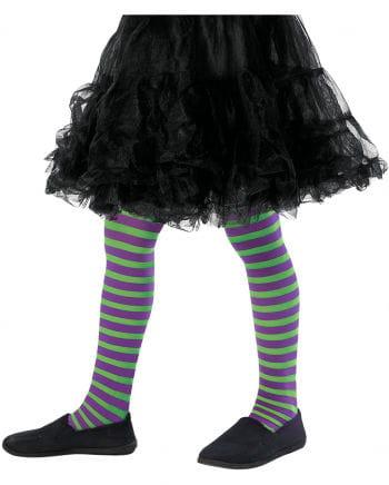Striped children's tights green-purple