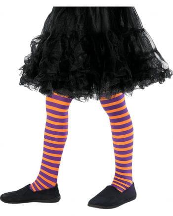 Striped children's tights orange-purple