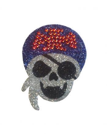 Glitter Tattoo Piraten-Totenkopf Augenklappe