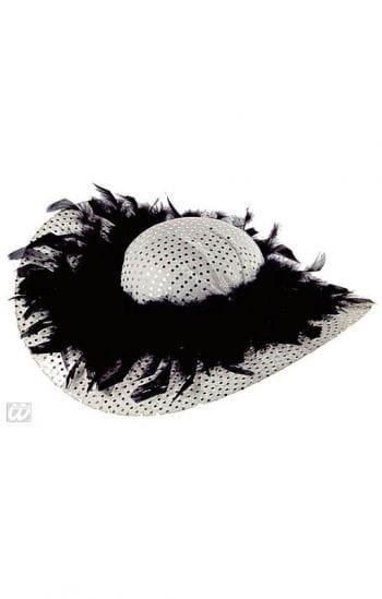 Glitzer Party Hut mit Federn Silber