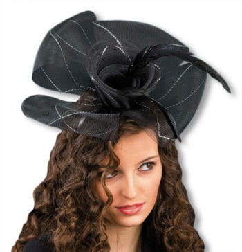 Flower Headband with Feathers Black