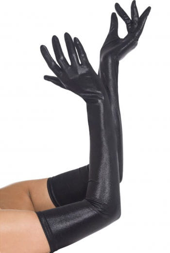 Gloves black wet look