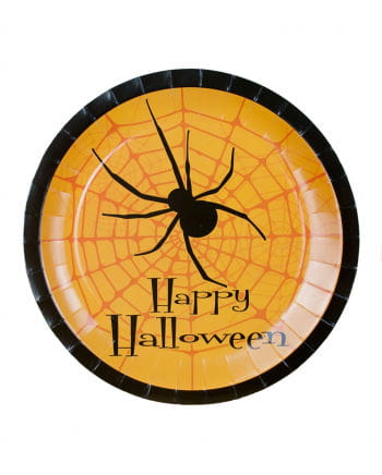 Happy Halloween paper plates with spider 8 St.