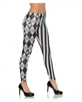 Harlequin costume leggings black-white