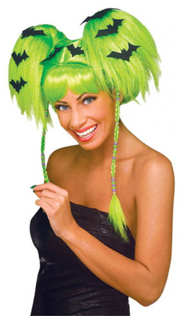 Neon Green Halloween Wig with Bats