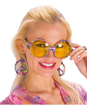 Flower Power Brille mit Ohrringen