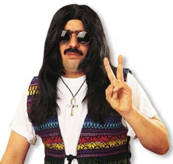 Hippie Langhaar Perücke schwarz