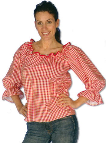 Checked Blouse Red/White S/M 36-38