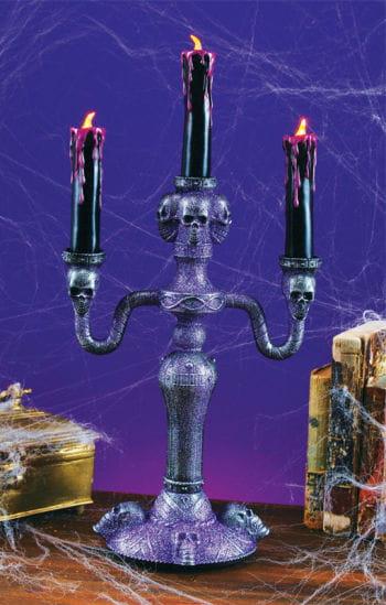Gothic Kerzenständer mit LED Kerzen violett