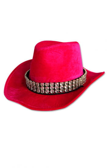 Lady pink velvet hat with rhinestone