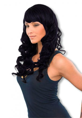 Luxurious curly long hair wig black