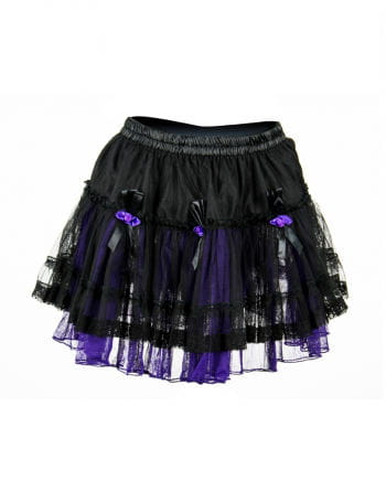 Minirock Tüll schwarz-violett mit Rosen