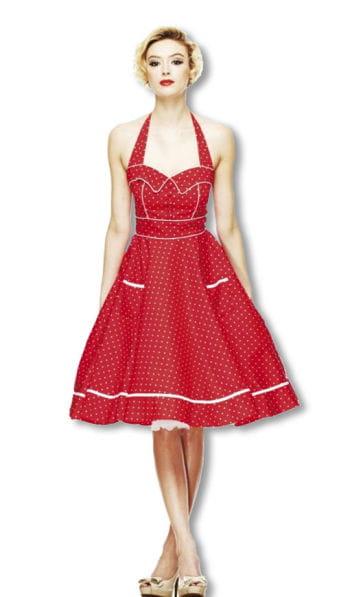 Neckholder Polka Dot Kleid rot