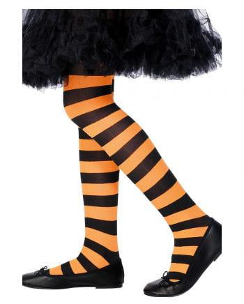 Gestreifte Kinderstrumpfhose schwarz-orange