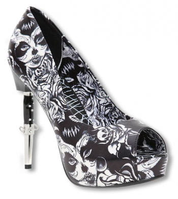 Bella Muerte peep toes black and white