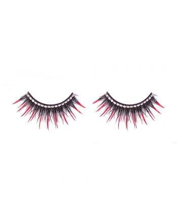 Eyelashes with white rhinestones